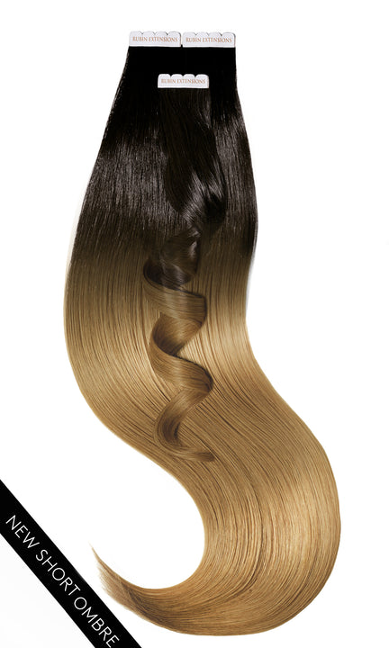 PRO DELUXE LINE OMBRÉ Jet Black & Salty Caramel Tape-In Hair Extensions