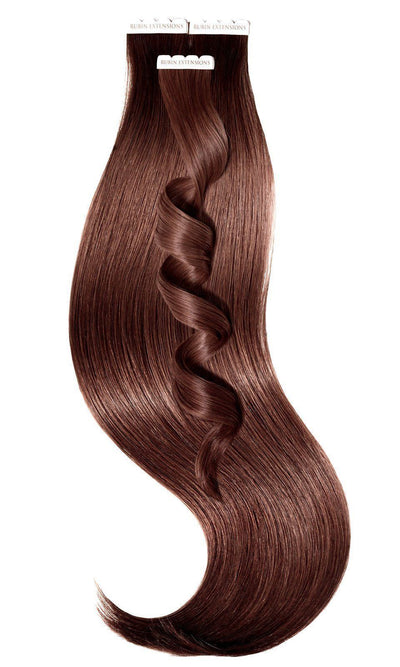 Tape-In Medium Copper Brown Human Hair Extensions