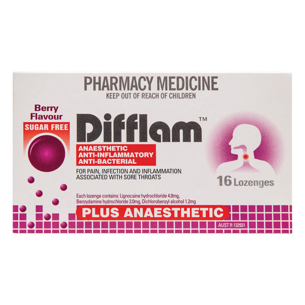 Difflam Plus Anaesthetic Sugar Free Berry Lozenges 16s