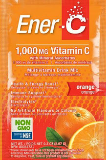 Ener-C 1,000mg Vit C Effervescent Powder - Orange Flavour 30 x 9g Sachets