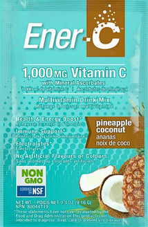 Ener-C 1,000mg Vit C Effervescent Powder - Pineapple Coconut Flavour 30 x 9g Sachets