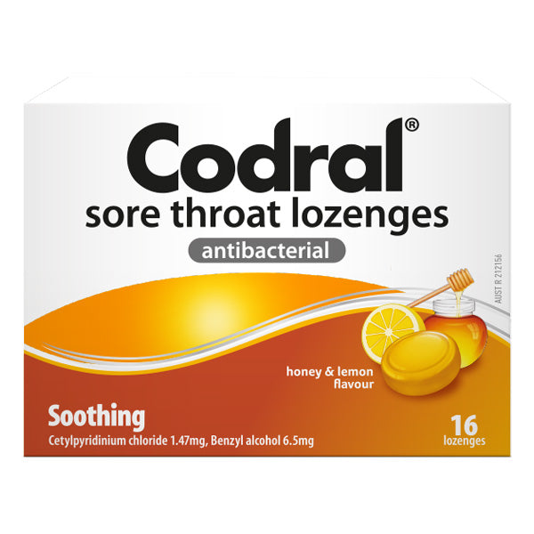 Codral Sore Throat Lozenges Honey & Lemon