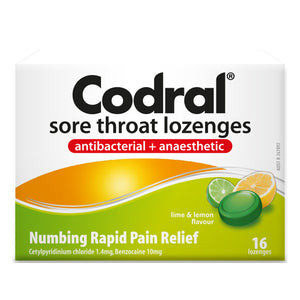 Codral Sore Throat Lozenges Lime & Lemon 16s