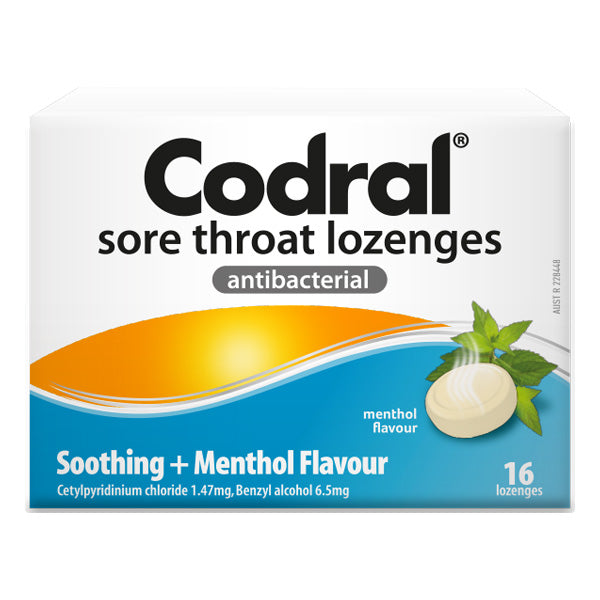 Codral Sore Throat Lozenges Menthol 16s