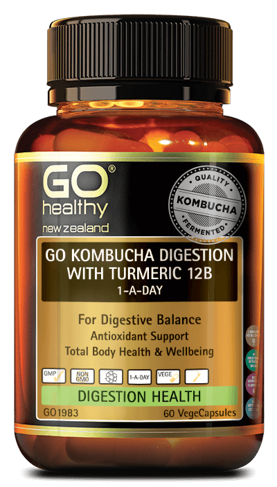 Go Kombucha Digestion with Turmeric 12B 1-a-day 60 capsules