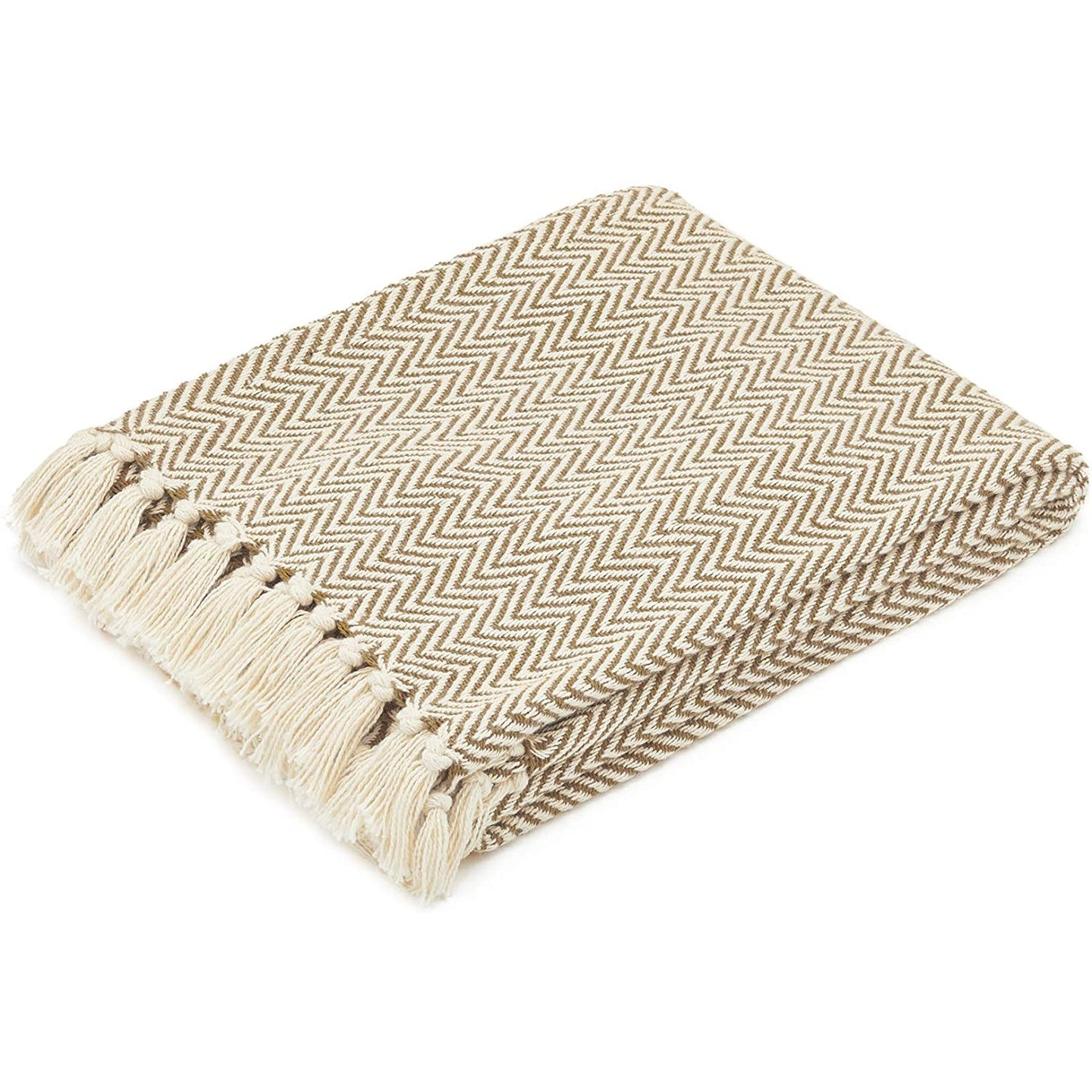 COTTON THROW BLANKET - CAMEL AND BEIGE