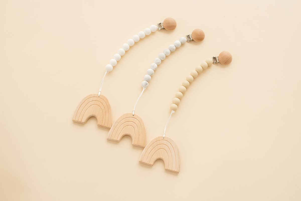 Handmade Natural Wood & Silicone Rainbow Teething Pendant