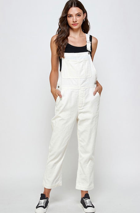 IVORY COTTON CORD OVERALLS