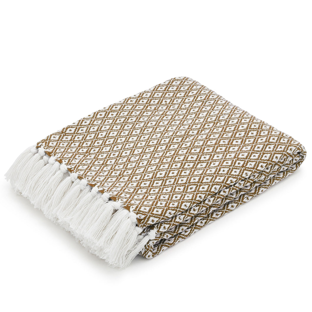 COTTON THROW BLANKET - MUSTARD/WHITE DIAMOND