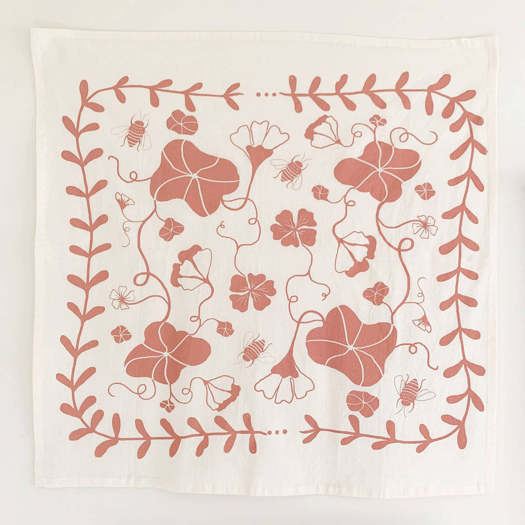 Nasturtium Tea Towel ~ Clay