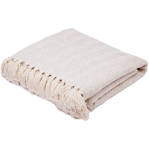 COTTON THROW BLANKET - CREAM HERRINGBONE