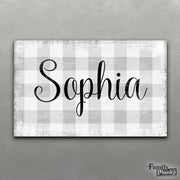 Personalize This Buffalo Plaid Child Name Sign!