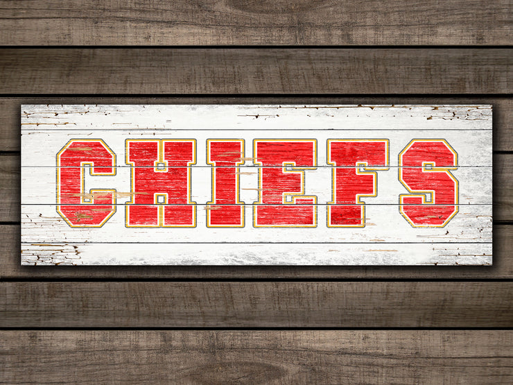 "8""x24""  Chiefs on a White-Washed Wood Plank"
