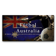 "12""x24""  Australia Futbol with Soccer Ball Kick Graphic Art Print on Wood"