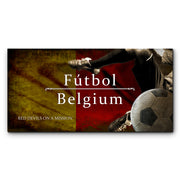 "12""x24""  Belgium Futbol with Soccer Ball Kick Graphic Art Print on Wood"