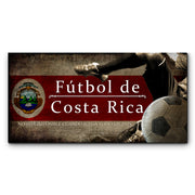 "12""x24""  Costa Rica Futbol with Soccer Ball Kick Graphic Art Print on Wood"