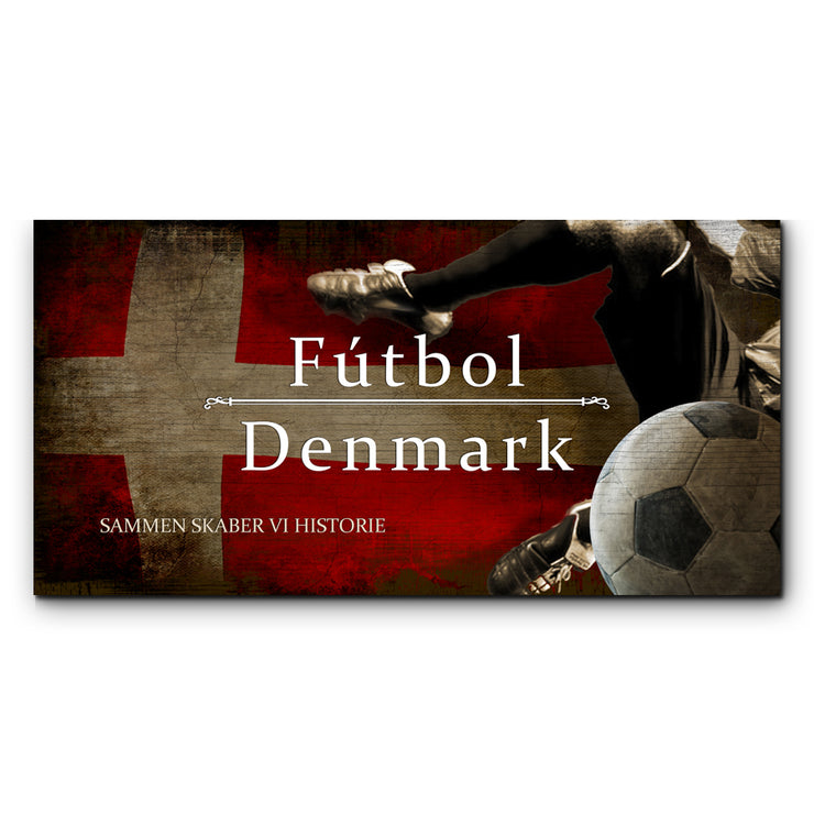 "12""x24""  Denmark Futbol with Soccer Ball Kick Graphic Art Print on Wood"