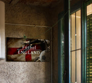 Image of England Futbol with Soccer Ball Kick Graphic Art Print on Wood