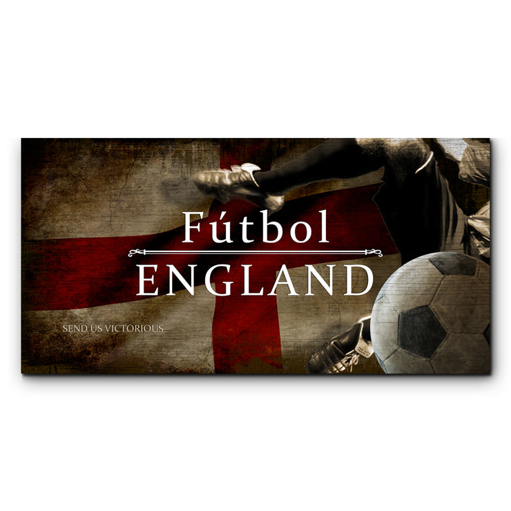 "12""x24""  England Futbol with Soccer Ball Kick Graphic Art Print on Wood"