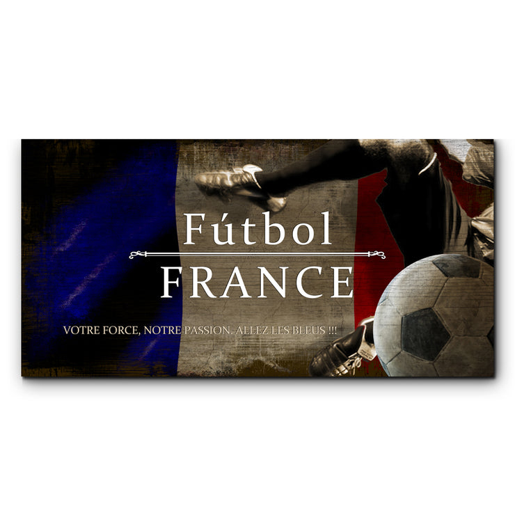 "12""x24""  France Futbol with Soccer Ball Kick Graphic Art Print on Wood"