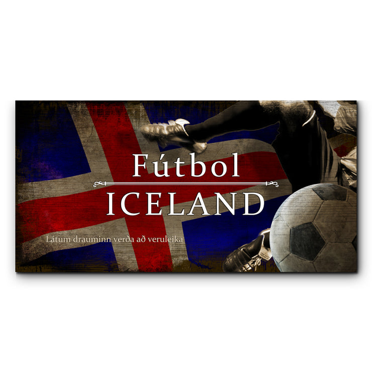 "12""x24""  Iceland Futbol with Soccer Ball Kick Graphic Art Print on Wood"