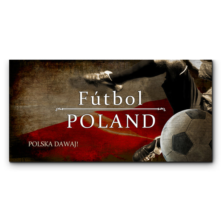 "12""x24""  Poland Futbol with Soccer Ball Kick Graphic Art Print on Wood"