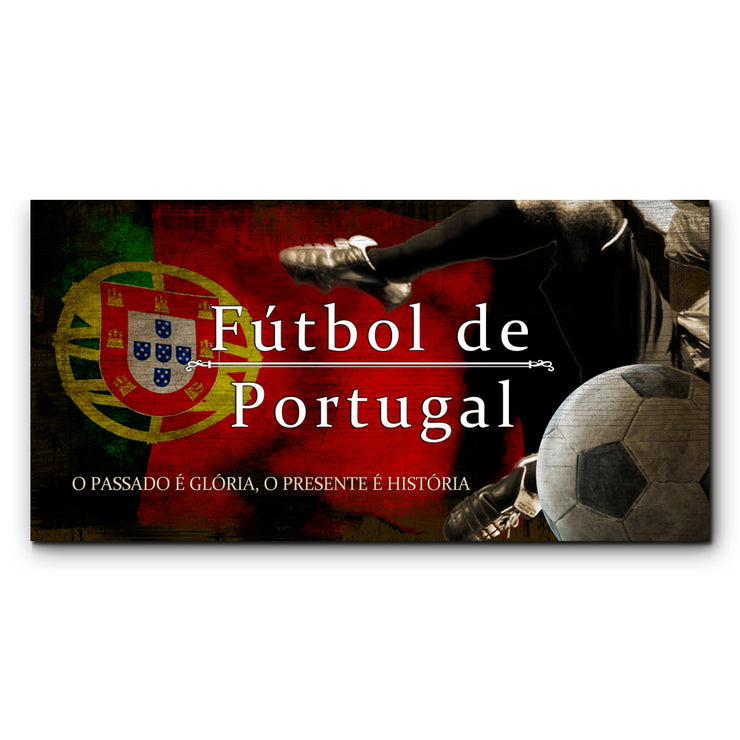 "12""x24""  Portugal Futbol with Soccer Ball Kick Graphic Art Print on Wood"