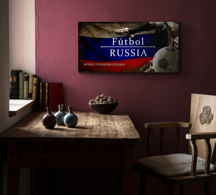 Image of Russia Futbol with Soccer Ball Kick Graphic Art Print on Wood