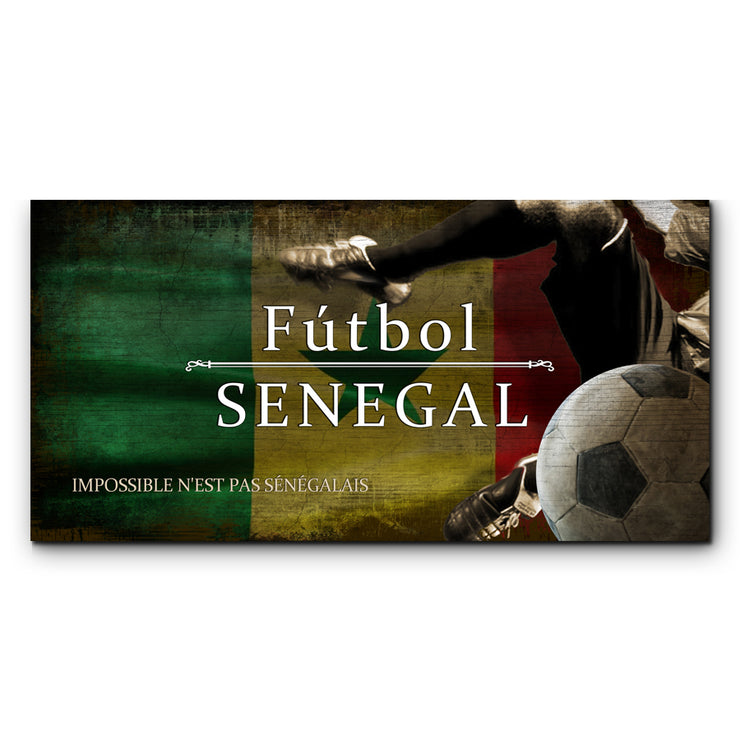 "12""x24""  Senegal Futbol with Soccer Ball Kick Graphic Art Print on Wood"