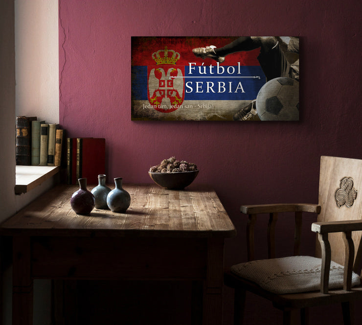 Image of Serbia Futbol with Soccer Ball Kick Graphic Art Print on Wood