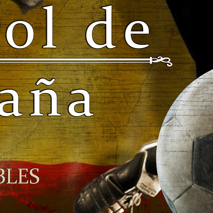 "12""x24""  Spain Futbol with Soccer Ball Kick Graphic Art Print on Wood"