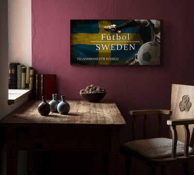 Image of Sweden Futbol with Soccer Ball Kick Graphic Art Print on Wood
