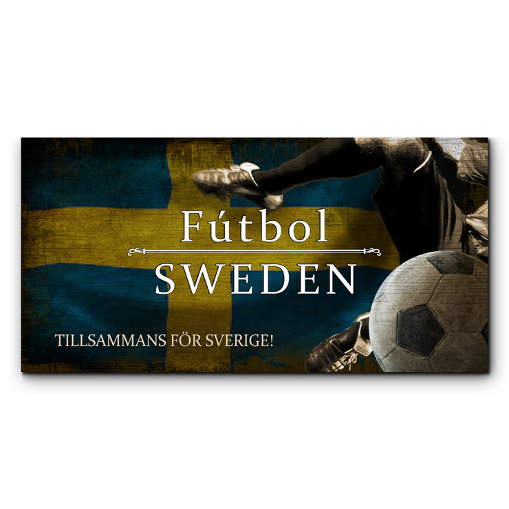 "12""x24"" Sweden Futbol with Soccer Ball Kick Graphic Art Print on Wood"