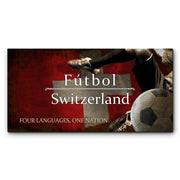 "12""x24""  Switzerland Futbol with Soccer Ball Kick Graphic Art Print on Wood"