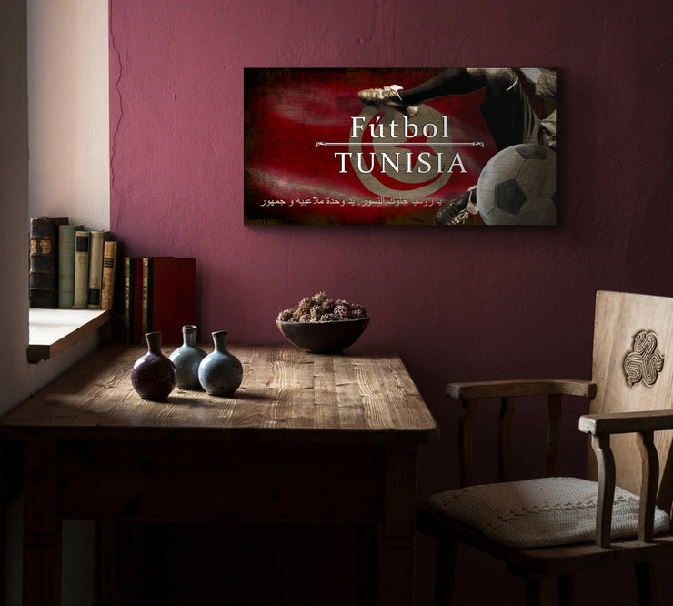 "12""x24""  Tunisia Futbol with Soccer Ball Kick Graphic Art Print on Wood"