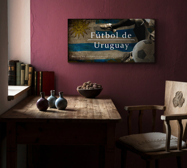Image of Uruguay Futbol with Soccer Ball Kick Graphic Art Print on Wood