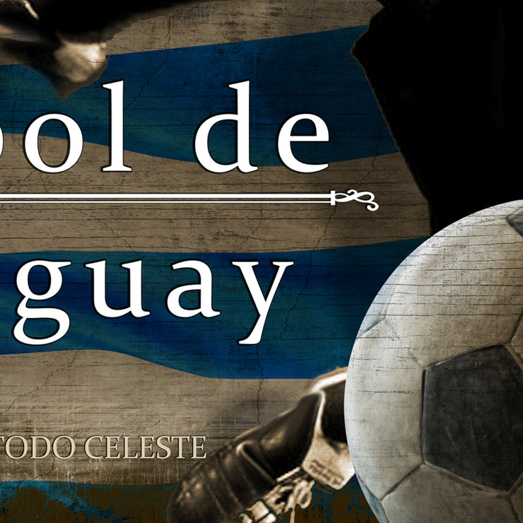 "12""x24"" Uruguay Futbol with Soccer Ball Kick Graphic Art Print on Wood"