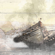 Forgotten Shipwreck in Pastels Printed on Wood with Faux Plank Lines
