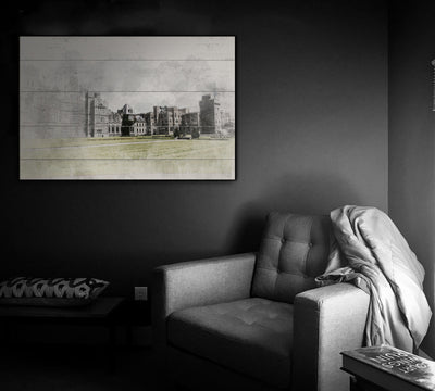 Image of  Watercolor Castle Painting Print on Wood
