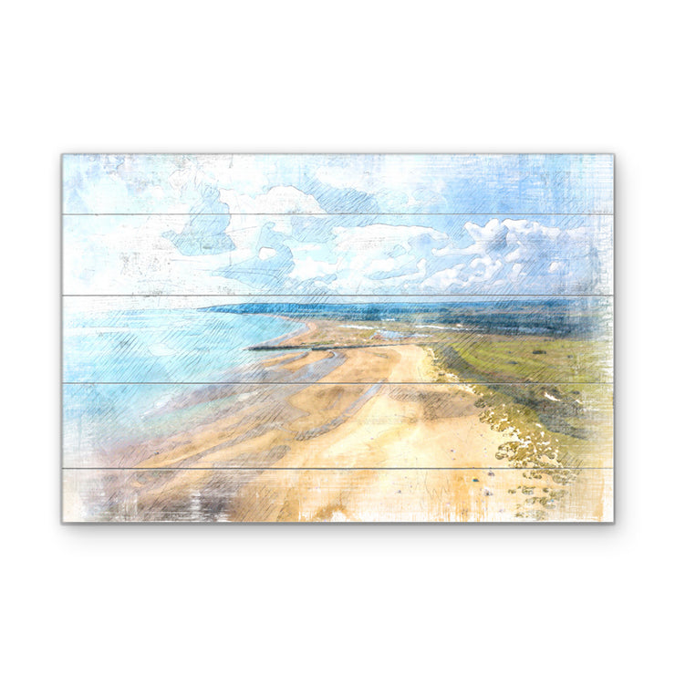 Watercolor Beach with Marshmello Clouds Art Print on Wood with Faux Plank Lines