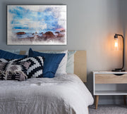 Image of  Rocky Coast Watercolored Under a Beautiful Blue Sky  Painting Print on Wood with Faux Plank Lines
