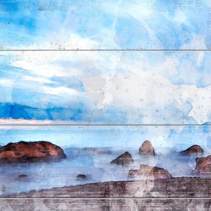 Rocky Coast Watercolored Under a Beautiful Blue Sky  Painting Print on Wood with Faux Plank Lines