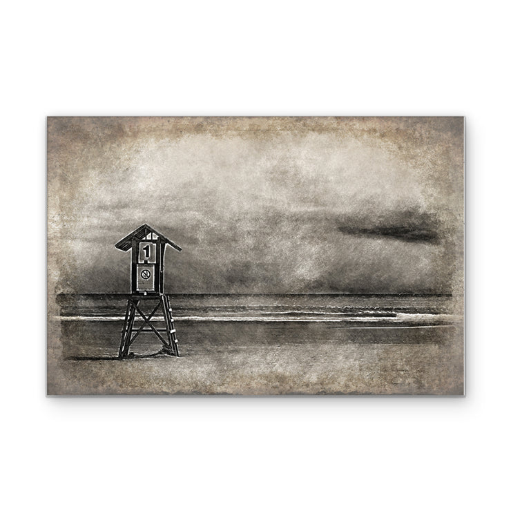 Vintage Lifeguard Stand on Pacific Coast Beach Print on Wood