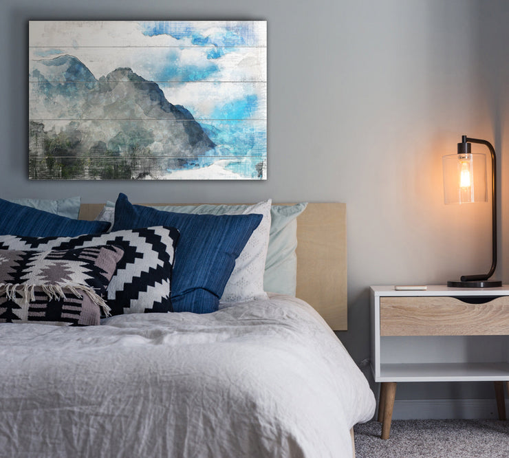 Image of  Mountain Oasis Art Print on Wood with Faux Plank Lines