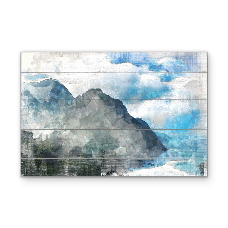 Mountain Oasis Art Print on Wood with Faux Plank Lines