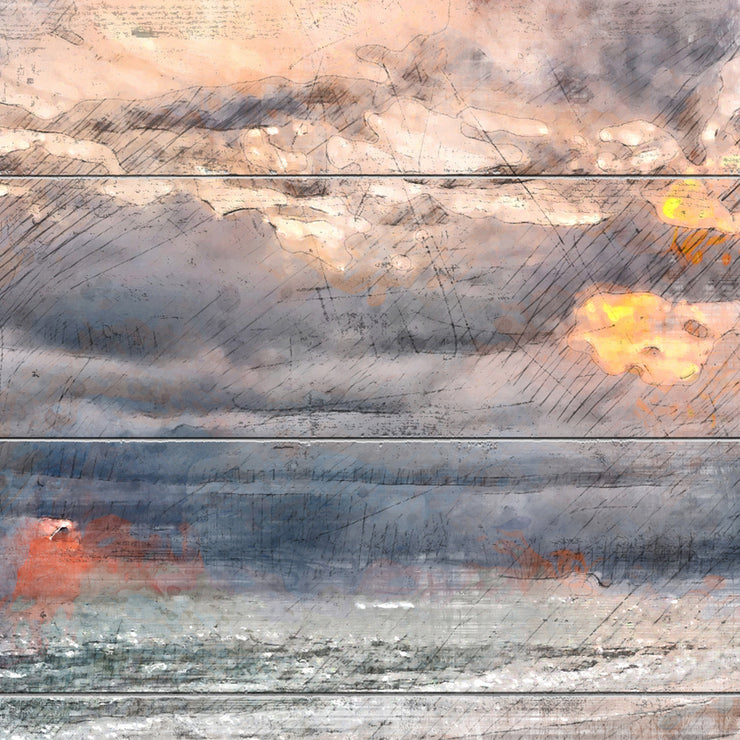 Watercolor Beach Sunset Before the Storm Art Print on Wood with Faux Plank Lines
