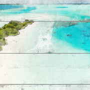 Watercolored Peninsula on Crystal Clear Water Art Print on Wood with Faux Plank Lines