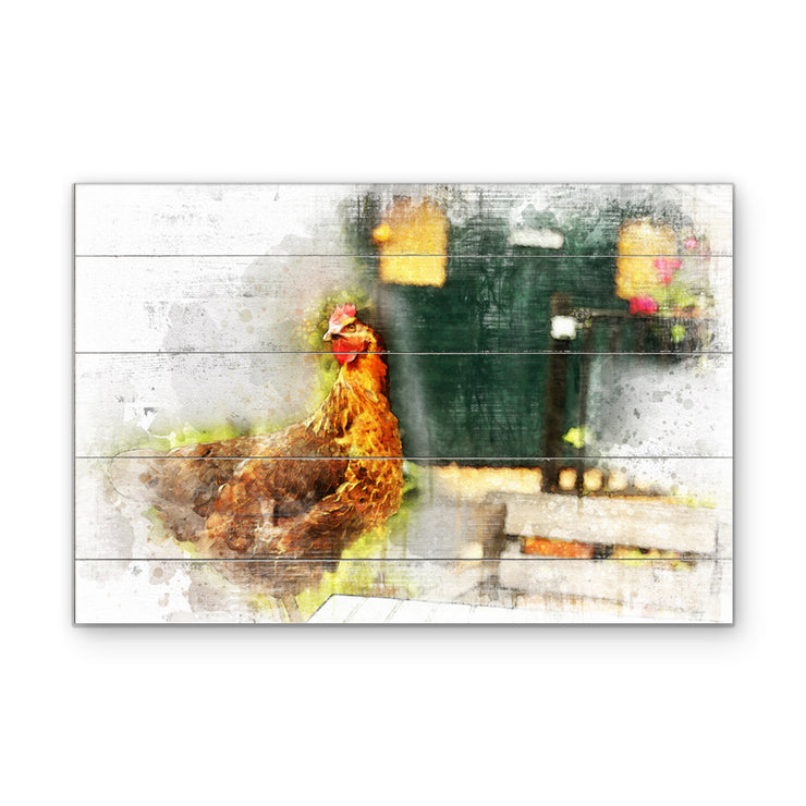 Watercolor Rooster Next to Coop Art Print on Wood with Faux Plank Lines