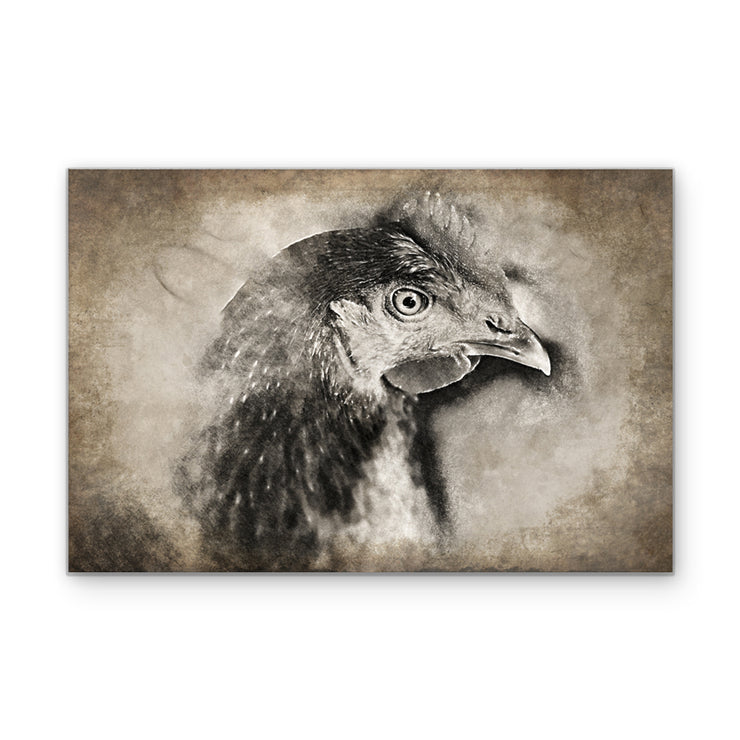 Vintage Sepia Chicken Head Art Print on Wood
