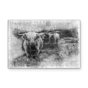 Vintage Groovy Bull Art Print on Wood with Faux Plank Lines